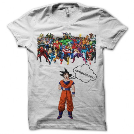 t shirt sangoku vs marvel comics blanc. Black Bedroom Furniture Sets. Home Design Ideas