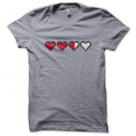 Shirt Heart Life gamer Gris pour homme et femme