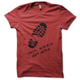Shirt chuck norris was here rouge pour homme et femme