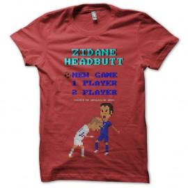 Shirt zidane coup de boule en 8 bit rouge pour homme et femme
