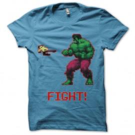 Shirt Fight 8 bits bleu ciel pour homme et femme