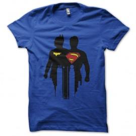 Shirt batman et superman logo effets ombre bleu fonce pour homme et femme