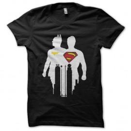 Shirt batman et superman logo effets ombre noir pour homme et femme