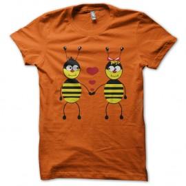 Shirt Bee Love orange pour homme et femme