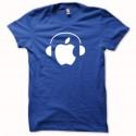 Shirt Apple Dj techno blanc/bleu royal pour homme et femme