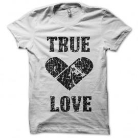 Shirt true love skater blanc pour homme et femme