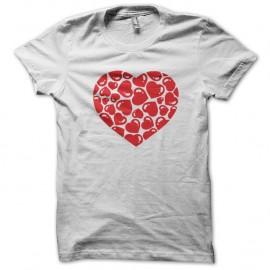 Shirt coeur amour blanc pour homme et femme