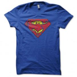 Shirt superman batman logo mix effets vintage bleu pour homme et femme