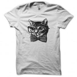 Shirt Nerd Cat blanc pour homme et femme