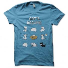 Shirt cat's resume bleu ciel pour homme et femme