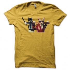 Shirt chat bagarreurs jaune pour homme et femme