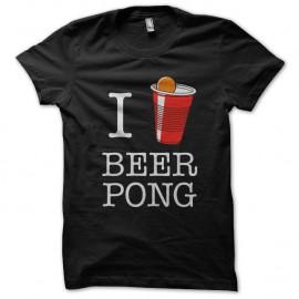 Shirt I love beer pong noir pour homme et femme