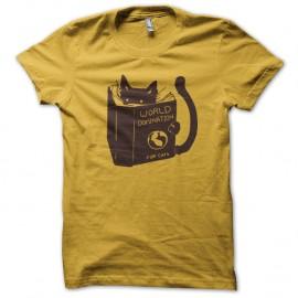 Shirt world domination cat jaune pour homme et femme