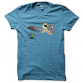 Shirt chat et son poney en voyage bleu ciel pour homme et femme