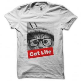 Shirt Cat life blanc pour homme et femme