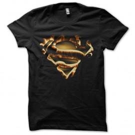 Shirt superman logo in fire noir pour homme et femme