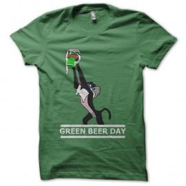 Shirt Green beer day parodie singe roi lion vert pour homme et femme