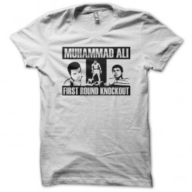 Shirt Muhammad Ali First Round Knockout blanc pour homme et femme