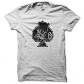 Shirt as de pique skull poker blanc pour homme et femme