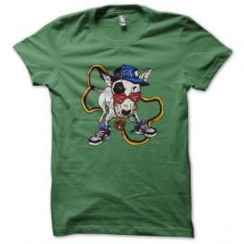 Shirt chien version hip hop vert pour homme et femme