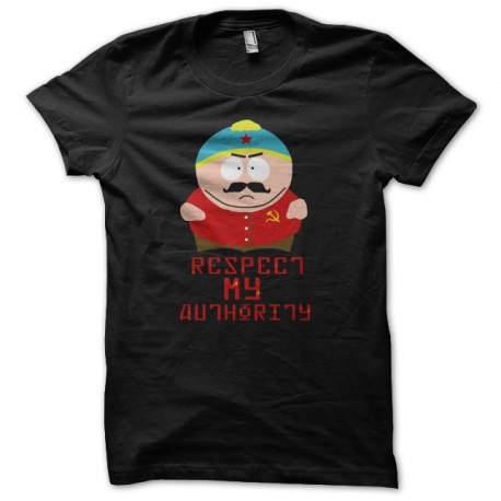 Shirt eric cartman respect my authority version communiste noir pour homme et femme