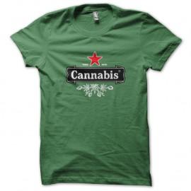 Shirt cannabis parodie heineken vert pour homme et femme