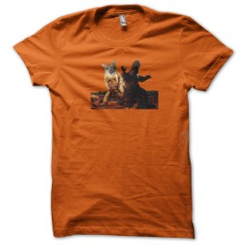 Shirt Godzilla vs chat orange pour homme et femme