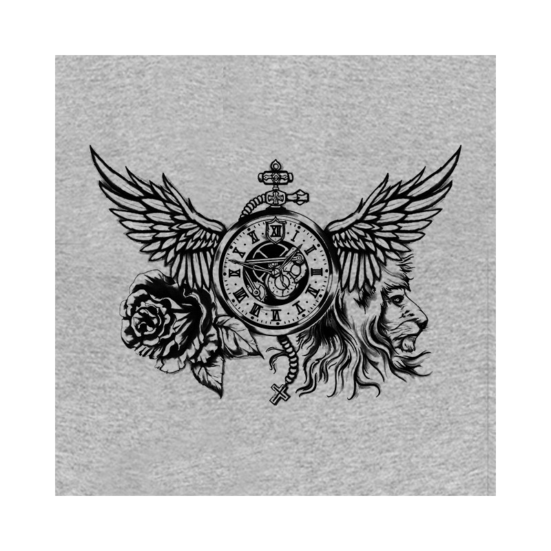 T Shirt Time Rose Lion Tattoo Grey