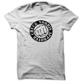 Shirt Chuck Norris le poing noir/blanc pour homme et femme