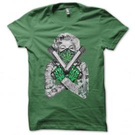 Shirt marilyn monroe gangsta weed vert pour homme et femme