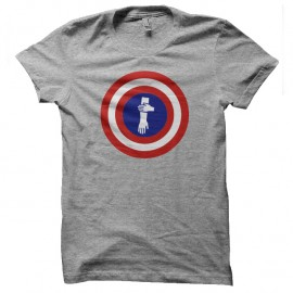 Shirt captain quenelles parodie captain america gris pour homme et femme