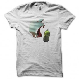 Shirt apple agresse android blanc pour homme et femme