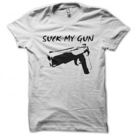 Shirt Suck my gun blanc pour homme et femme