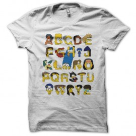 Shirt The Simpsons version alphabet blanc pour homme et femme