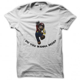 Shirt mario bros do you wanna beer blanc pour homme et femme