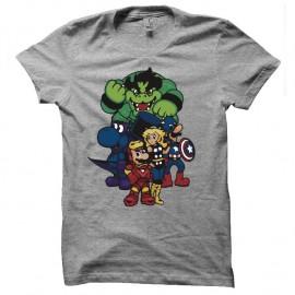 Shirt mario bros personnages parodie avengers gris pour homme et femme
