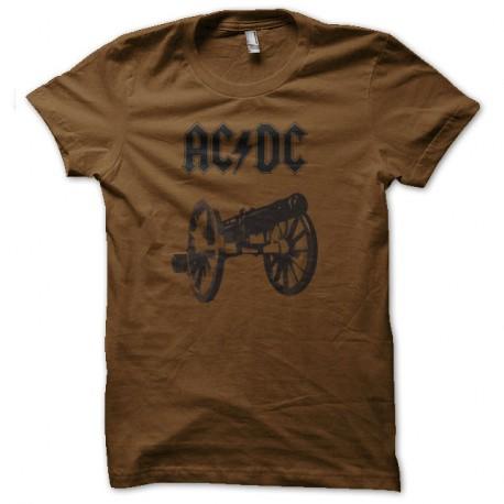 Shirt ac dc canon marron pour homme et femme