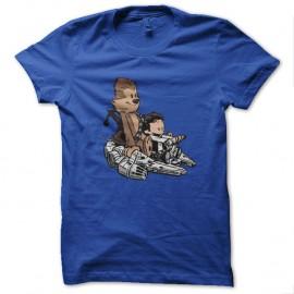 Shirt calvin et hobbes parodie luke et wookie bleu pour homme et femme