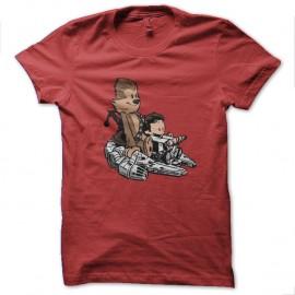 Shirt calvin et hobbes parodie luke et wookie rouge pour homme et femme