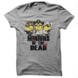 Shirt minions of the dead parodie the walking dead gris pour homme et femme