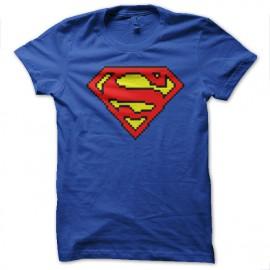 Shirt superman logo pixel bleu pour homme et femme