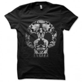 Shirt skull cat noir pour homme et femme