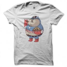 Shirt Captain americain version fat blanc pour homme et femme