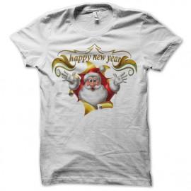 Shirt Santa Claus Happy New Year blanc pour homme et femme