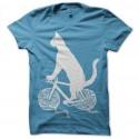 Shirt chat pelote bleu ciel pour homme et femme