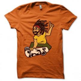 Shirt rasta skateboard reggae dub style orange pour homme et femme