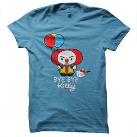 Shirt clown tueur bye bye kitty parodie bleu ciel pour homme et femme
