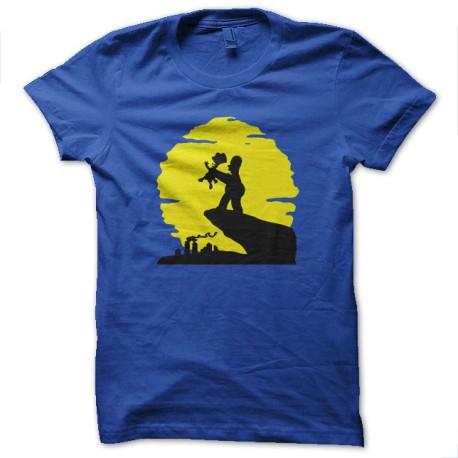 Shirt Les simpsons Homer et Bart parodie le roi lion bleu pour homme et femme