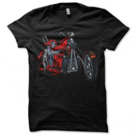 Shirt skeleton biker noir pour homme et femme