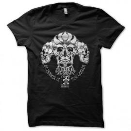 Shirt skull flower noir pour homme et femme